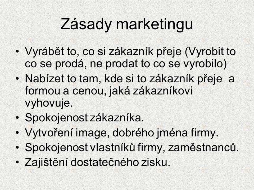 Zásady marketingu Vyrábět to, co si zákazník přeje (Vyrobit to co se prodá, ne prodat to co se vyrobilo)