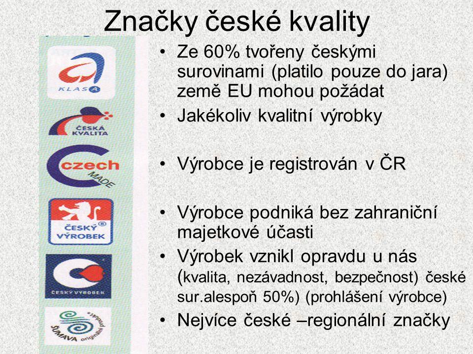 Značky české kvality Ze 60% tvořeny českými surovinami (platilo pouze do jara) země EU mohou požádat.