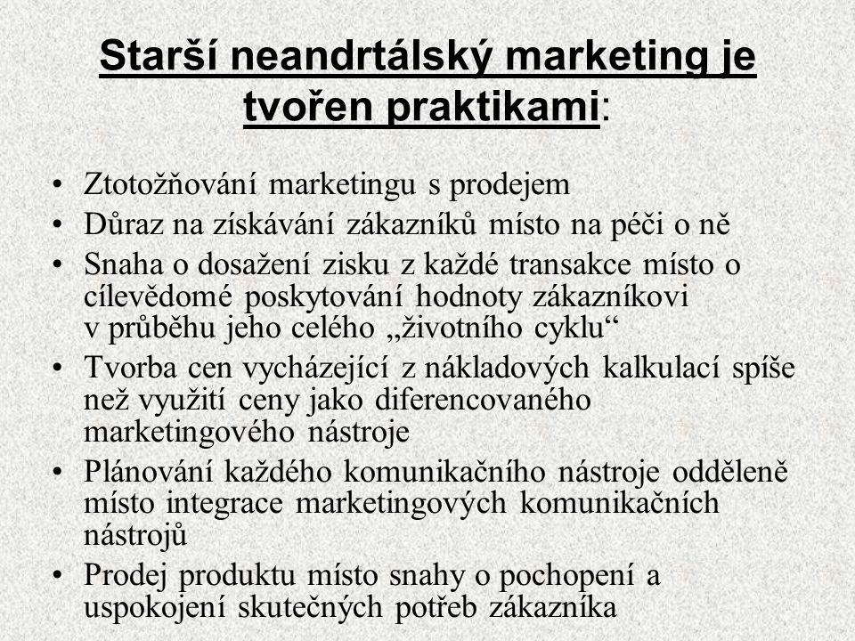 Starší neandrtálský marketing je tvořen praktikami: