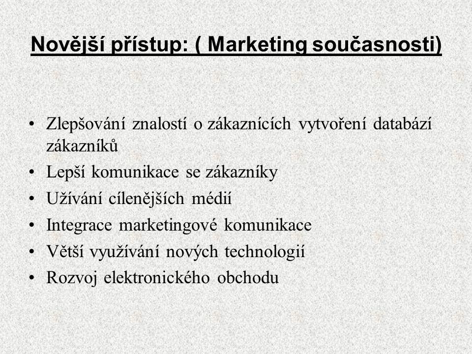 Novější přístup: ( Marketing současnosti)