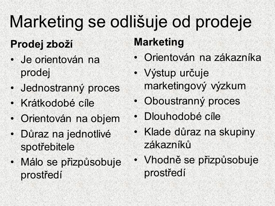 Marketing se odlišuje od prodeje
