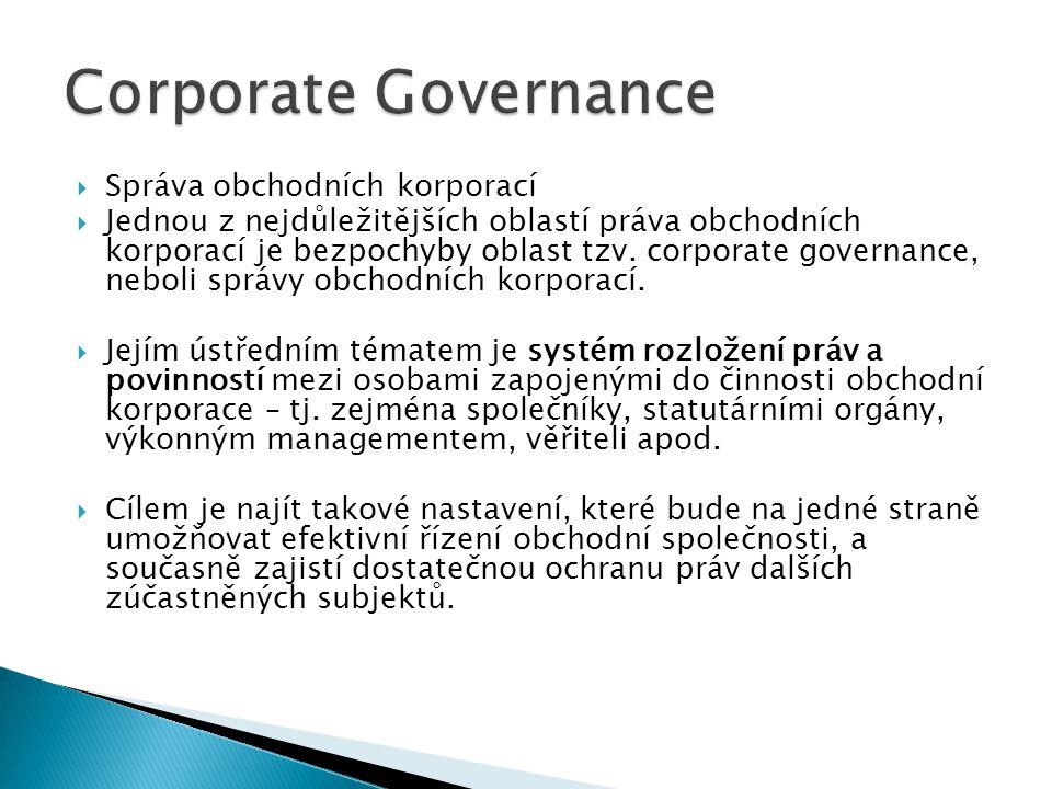 Corporate Governance Správa obchodních korporací