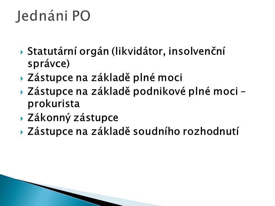 Jednáni PO Statutární orgán (likvidátor, insolvenční správce)