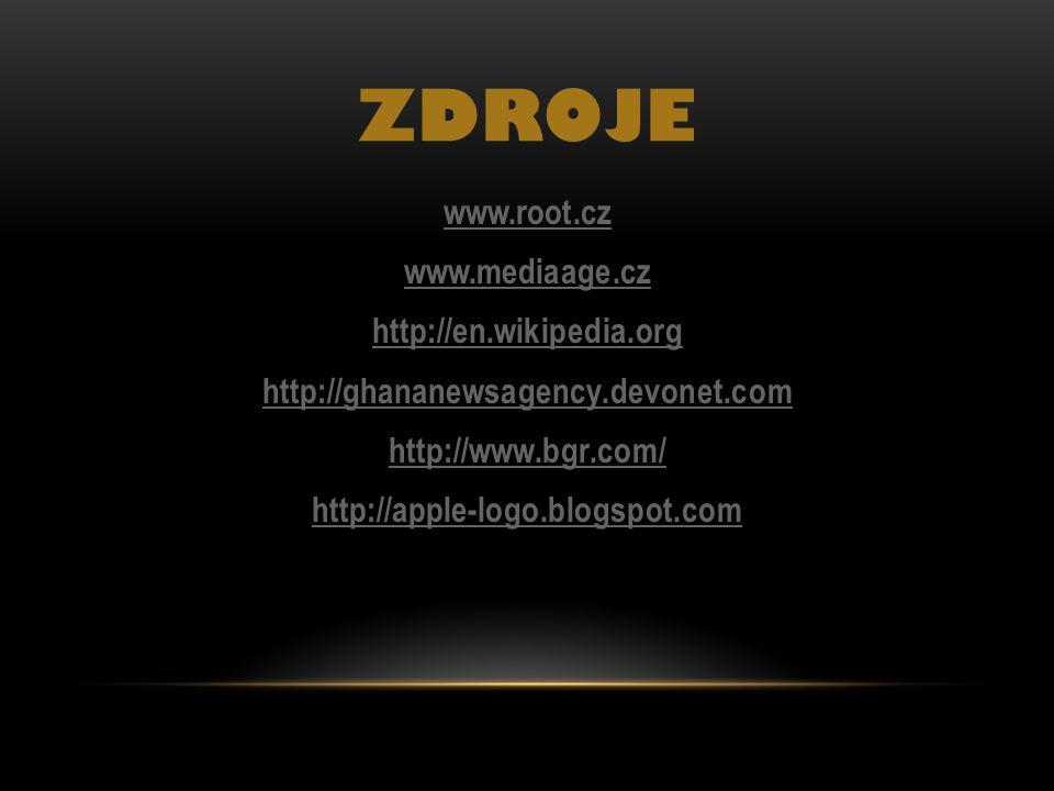 ZDrOJE www.root.cz www.mediaage.cz http://en.wikipedia.org http://ghananewsagency.devonet.com http://www.bgr.com/ http://apple-logo.blogspot.com