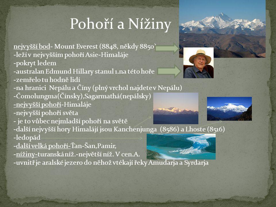 Pohoří a Nížiny nejvyšší bod- Mount Everest (8848, někdy 8850)