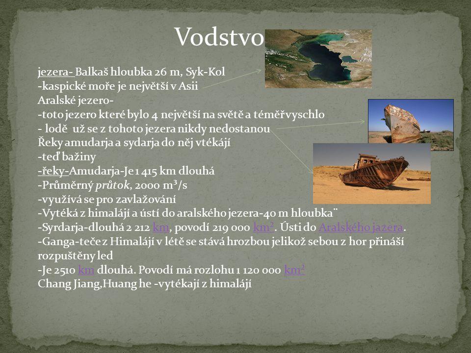 Vodstvo jezera- Balkaš hloubka 26 m, Syk-Kol