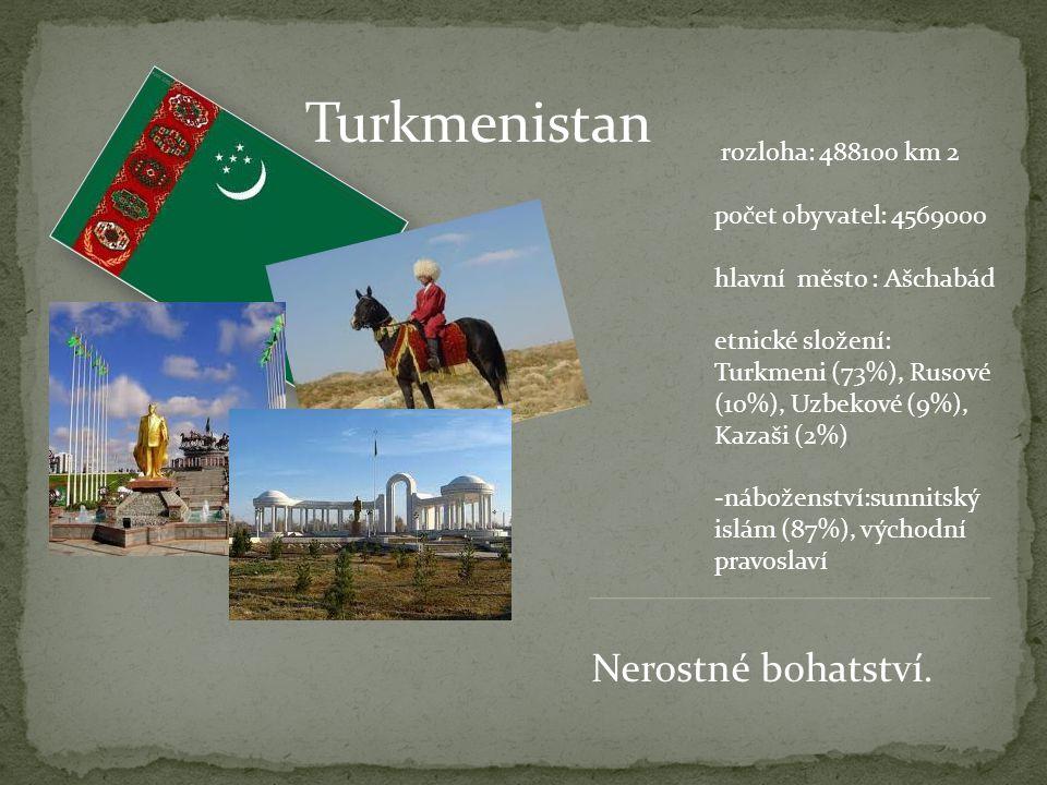 Turkmenistan Nerostné bohatství. rozloha: 488100 km 2