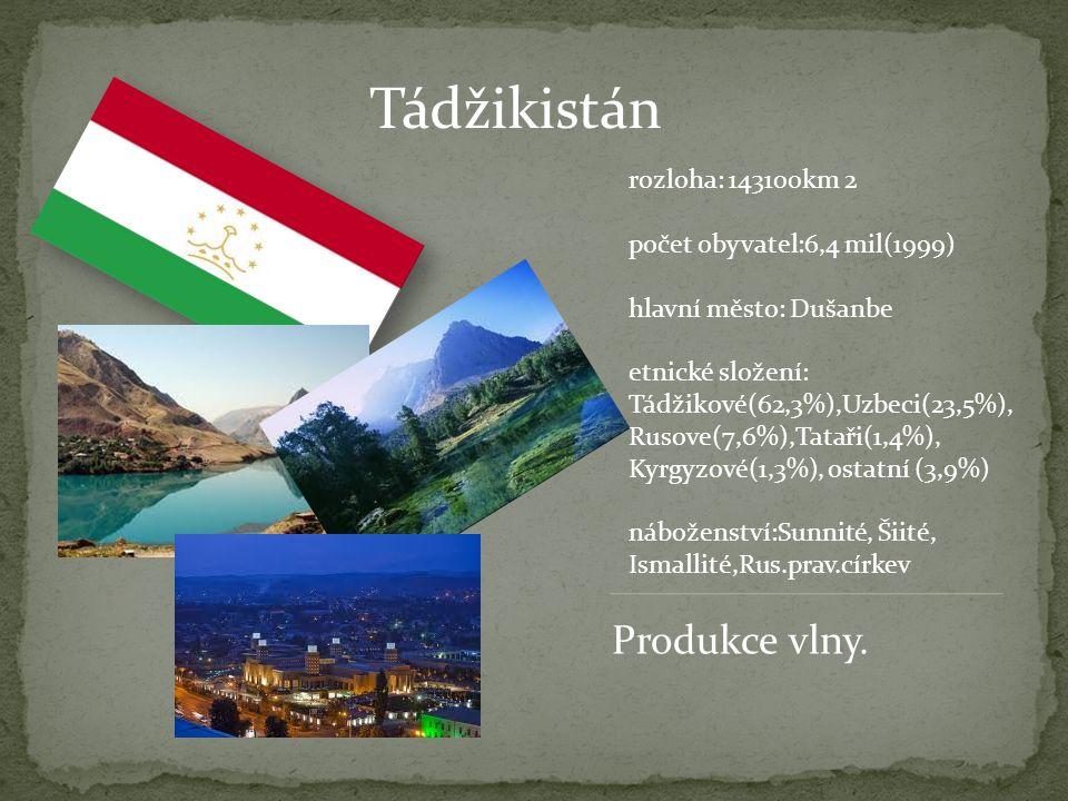 Tádžikistán Produkce vlny. rozloha: 143100km 2