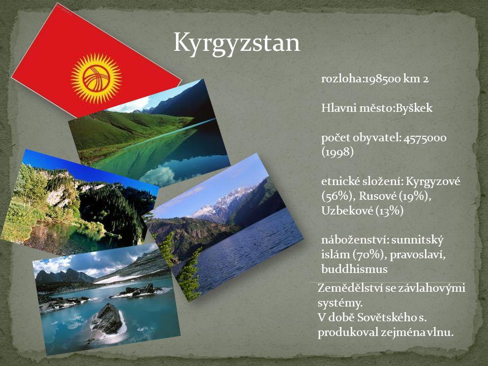 Kyrgyzstan rozloha:198500 km 2 Hlavni město:Byškek