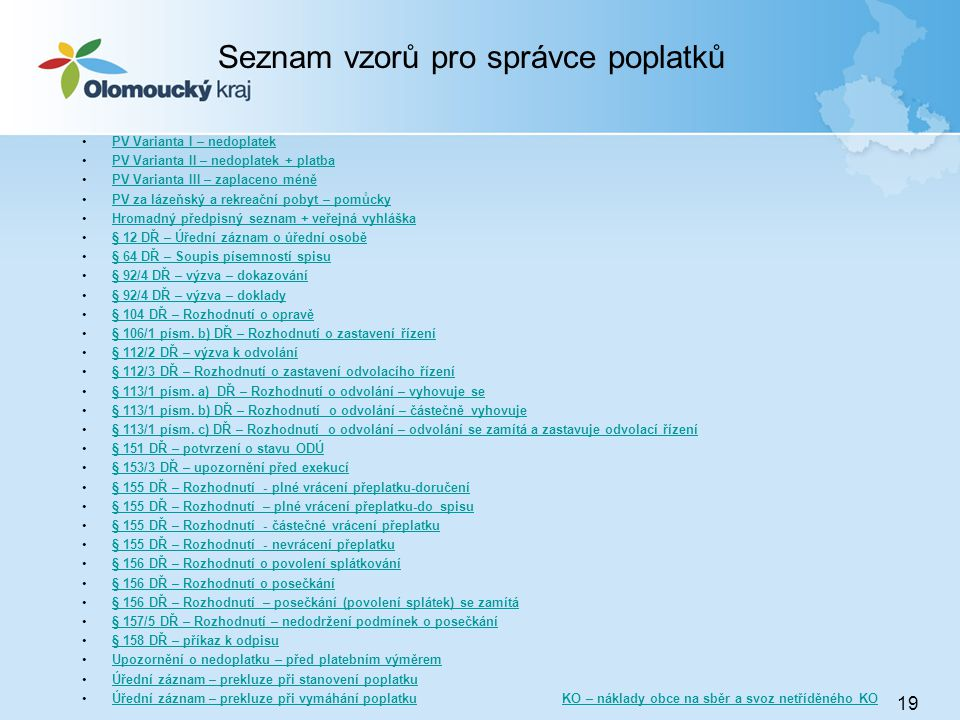Seznam vzorů pro správce poplatků