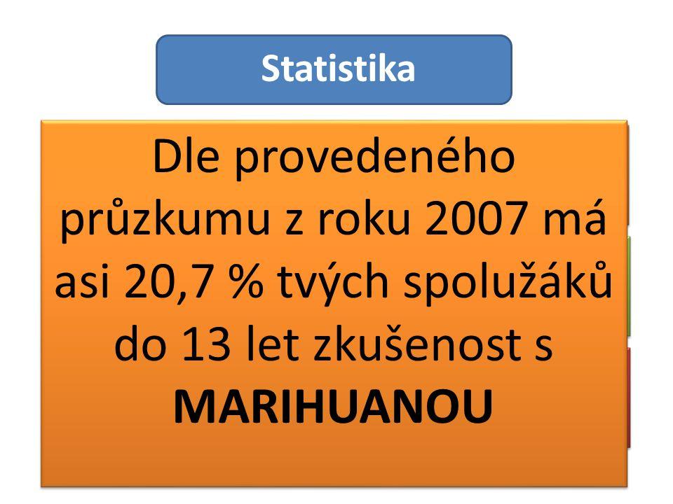 Statistika Dle provedeného průzkumu z roku 2007 má asi 20,7 % tvých spolužáků do 13 let zkušenost s MARIHUANOU.