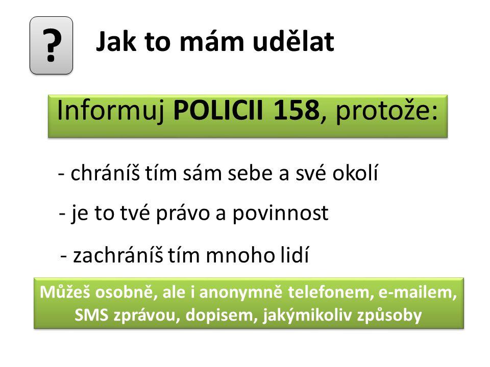 Informuj POLICII 158, protože: