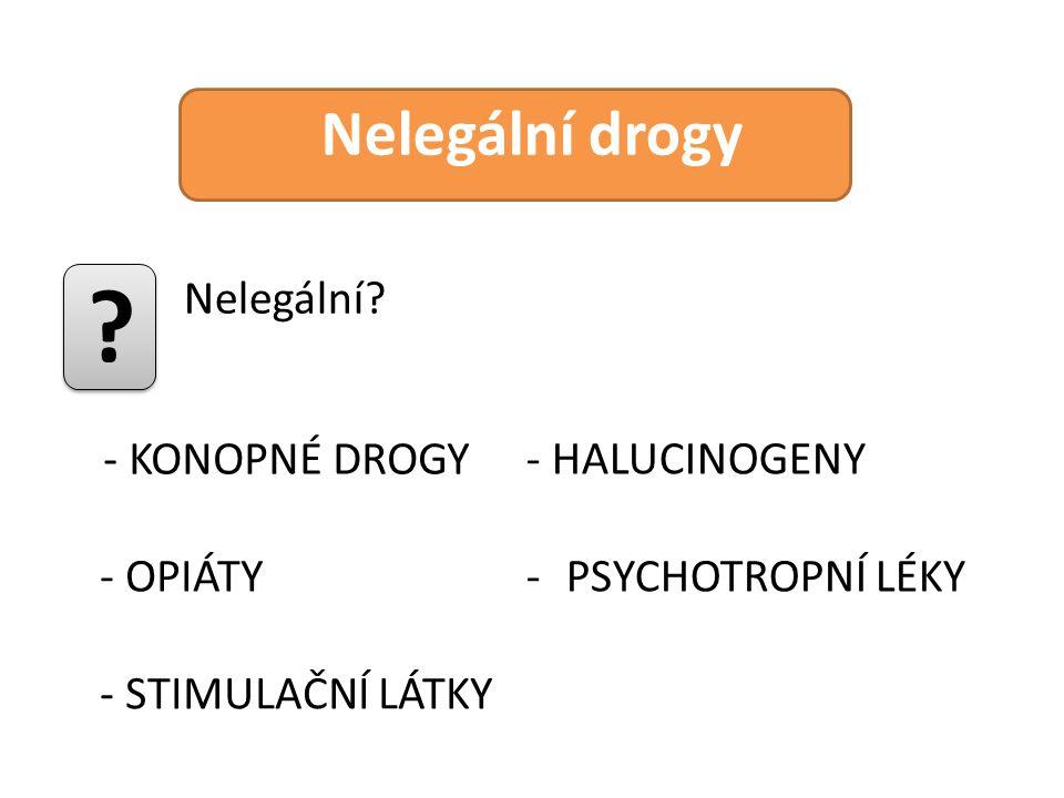 Nelegální drogy Nelegální - KONOPNÉ DROGY - HALUCINOGENY - OPIÁTY
