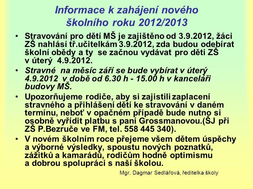 Informace k zahájení nového školního roku 2012/2013