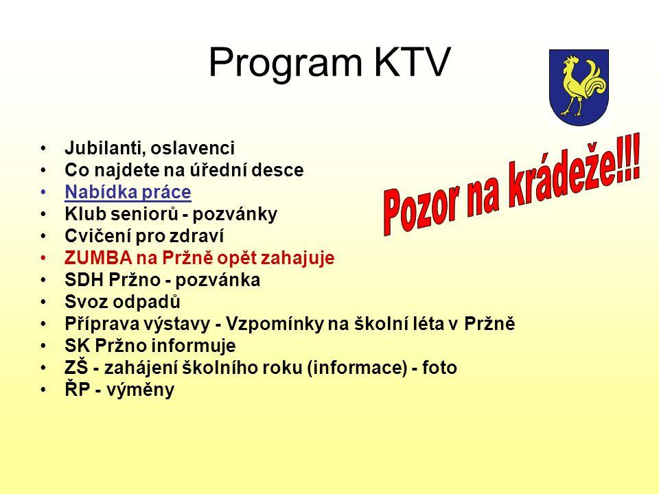 Program KTV Pozor na krádeže!!! Jubilanti, oslavenci