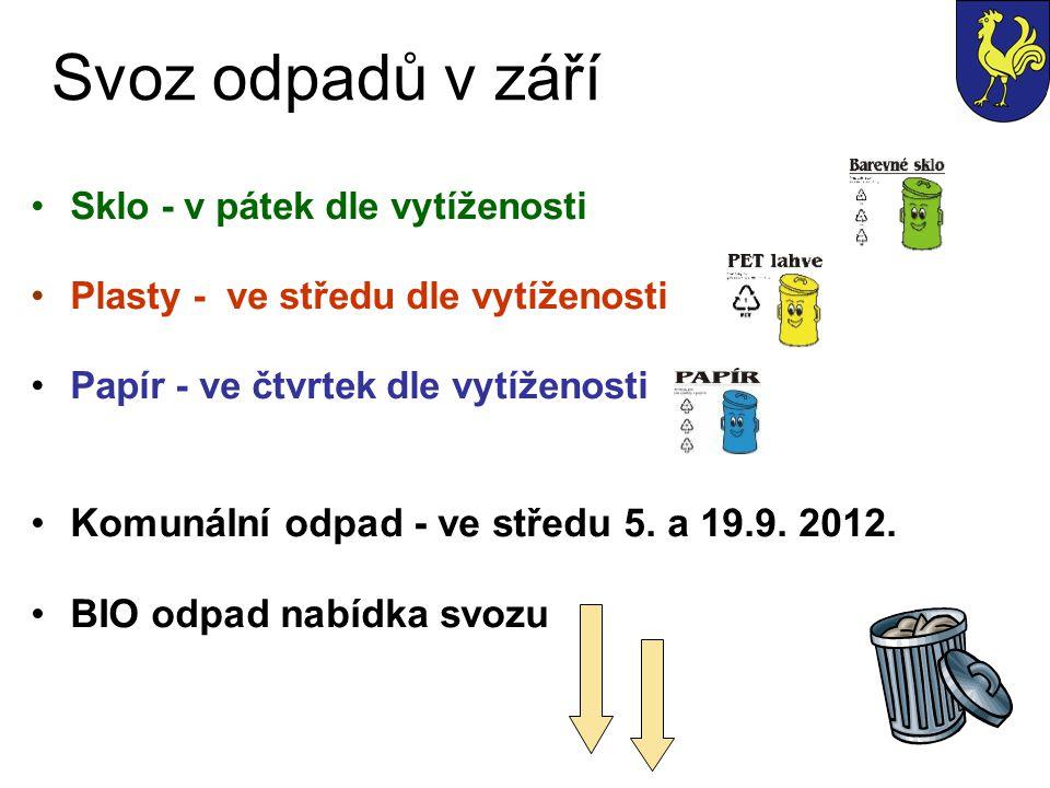 Svoz odpadů v září Komunální odpad - ve středu 5. a 19.9. 2012.