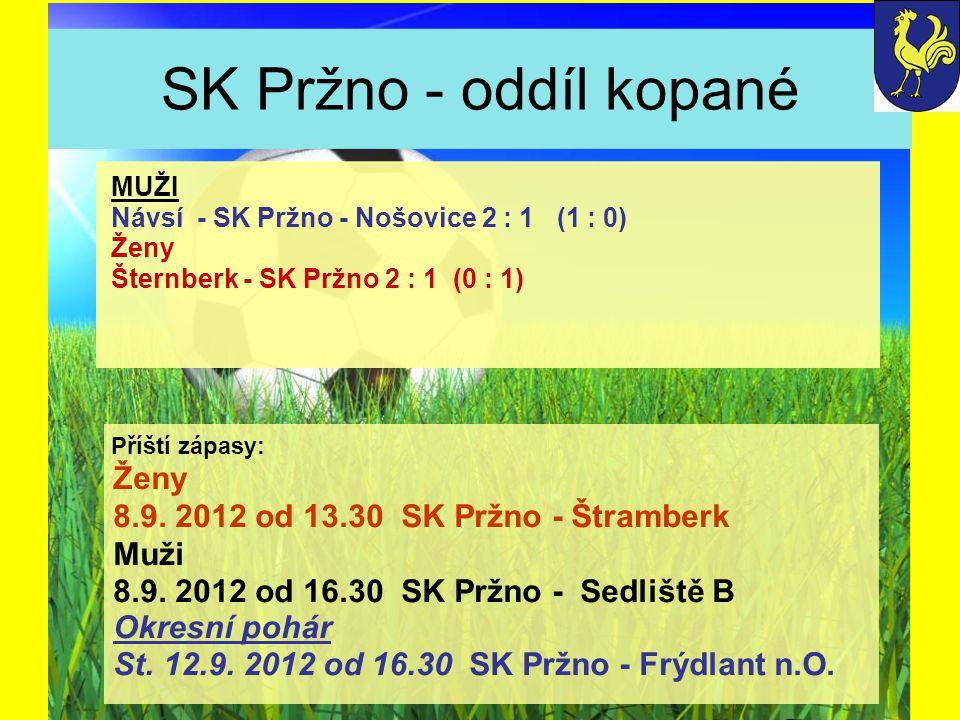 SK Pržno - oddíl kopané Ženy 8.9. 2012 od 13.30 SK Pržno - Štramberk