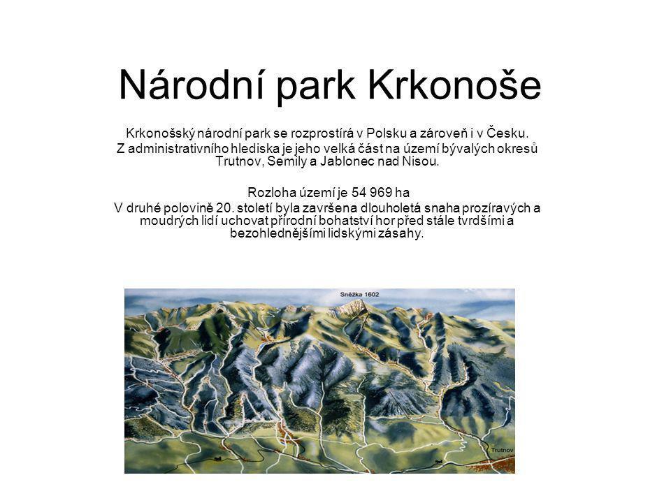 Krkonošský národní park se rozprostírá v Polsku a zároveň i v Česku.