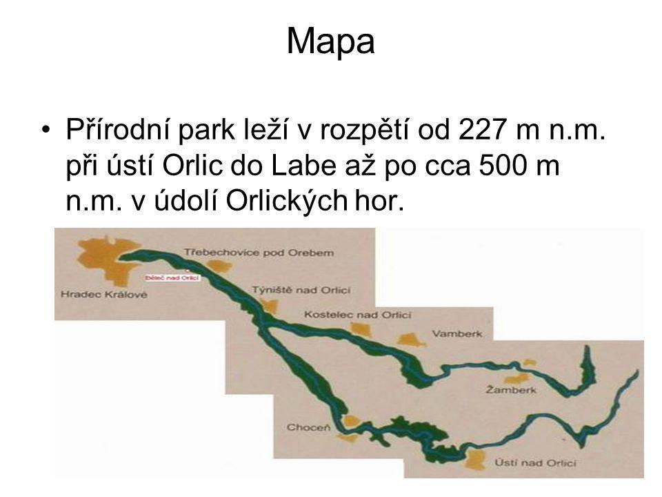 Mapa Přírodní park leží v rozpětí od 227 m n.m. při ústí Orlic do Labe až po cca 500 m n.m.
