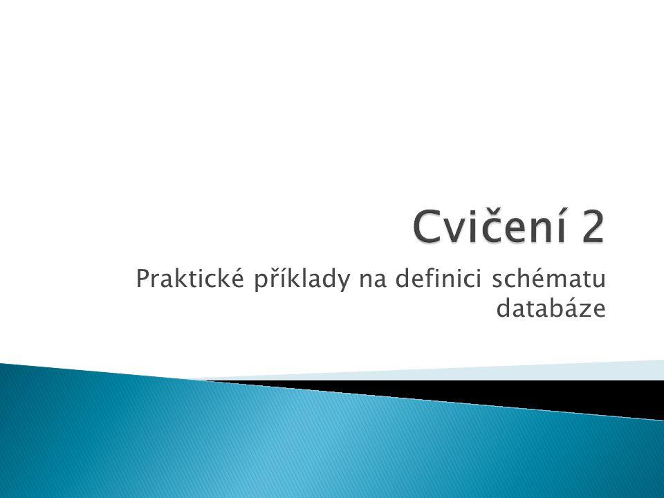 Praktické příklady na definici schématu databáze