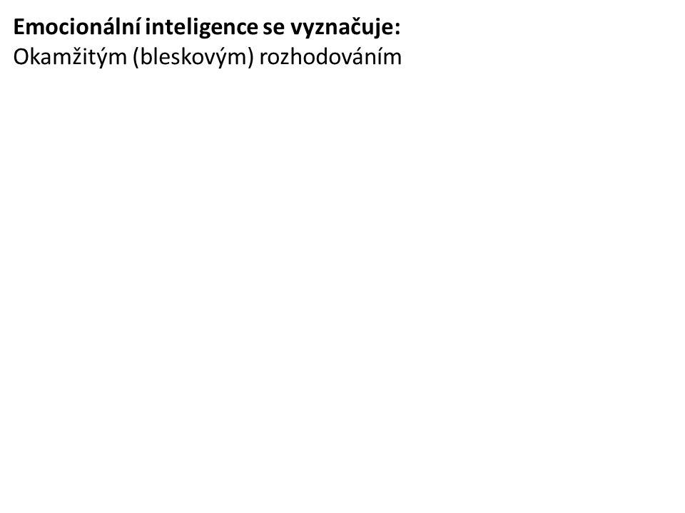 Emocionální inteligence se vyznačuje: Okamžitým (bleskovým) rozhodováním