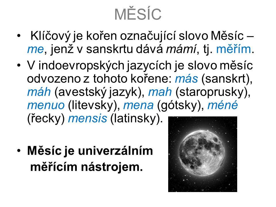 MĚSÍC Klíčový je kořen označující slovo Měsíc – me, jenž v sanskrtu dává mámí, tj. měřím.