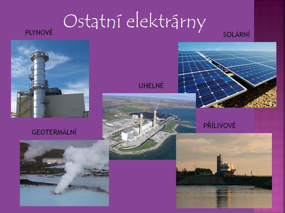 Ostatní elektrárny PLYNOVÉ SOLÁRNÍ UHELNÉ PŘÍLIVOVÉ GEOTERMÁLNÍ