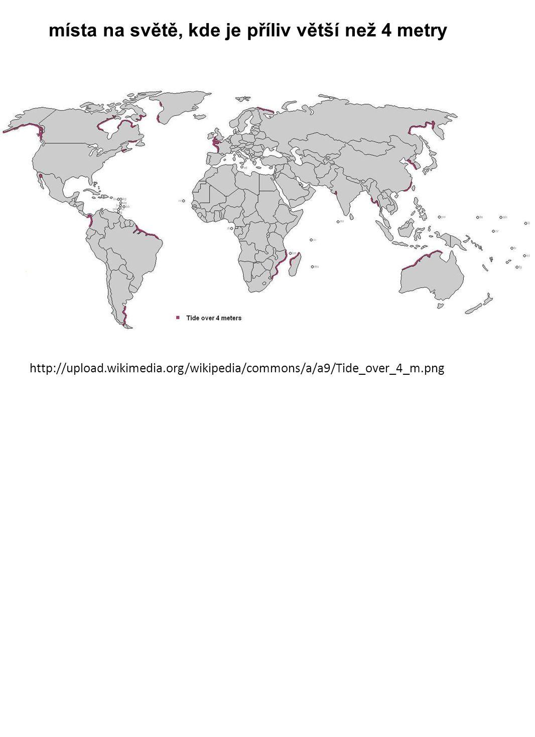 místa na světě, kde je příliv větší než 4 metry