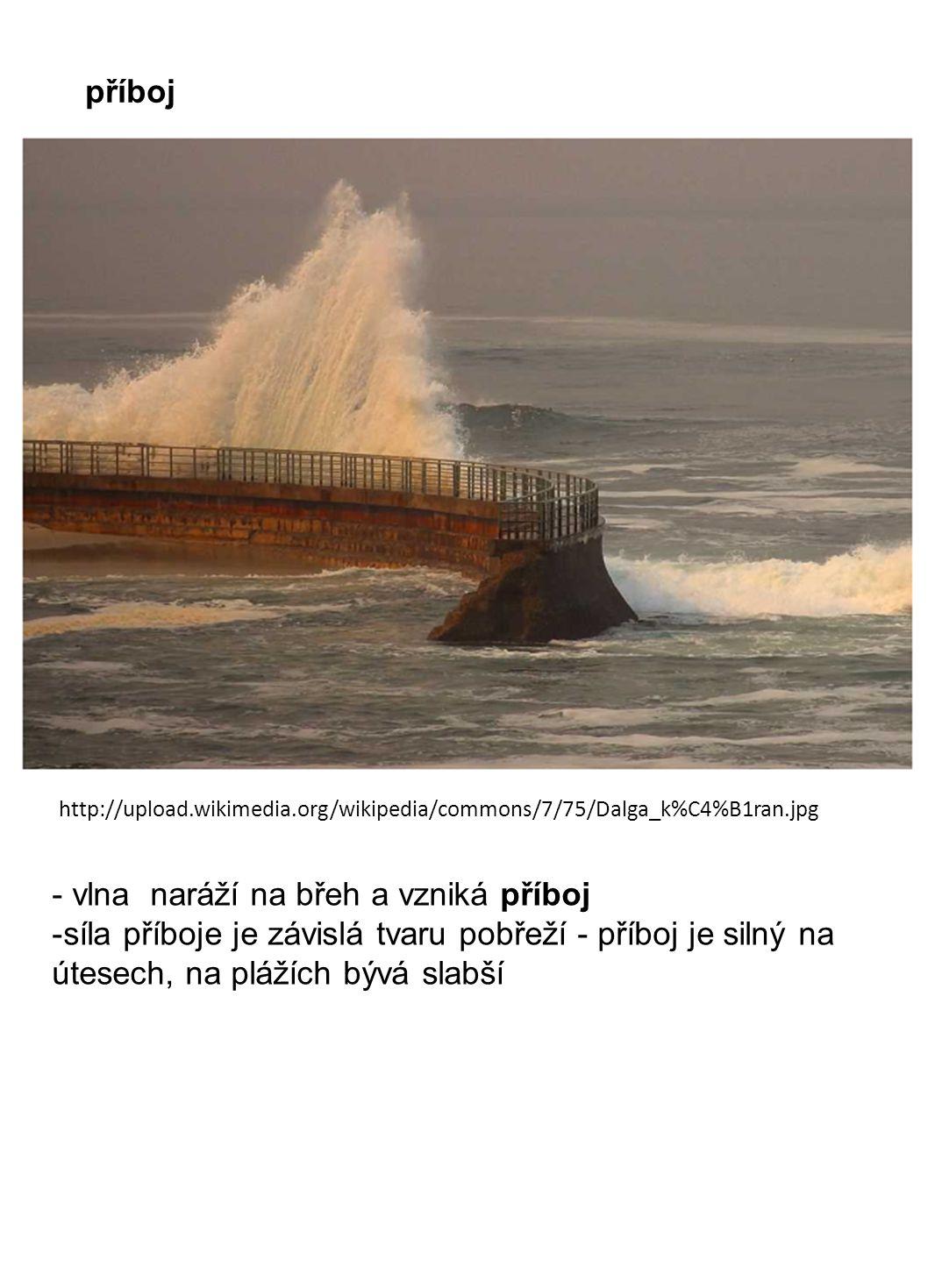 - vlna naráží na břeh a vzniká příboj