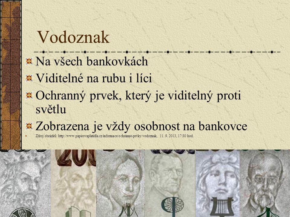 Vodoznak Na všech bankovkách Viditelné na rubu i líci