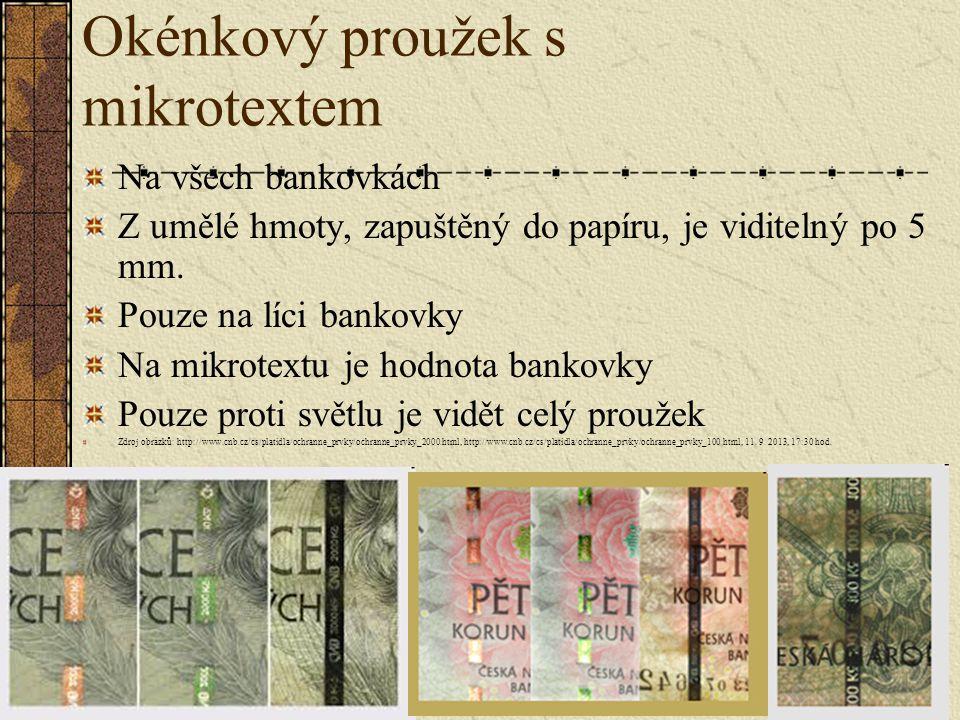 Okénkový proužek s mikrotextem