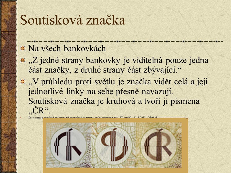 Soutisková značka Na všech bankovkách
