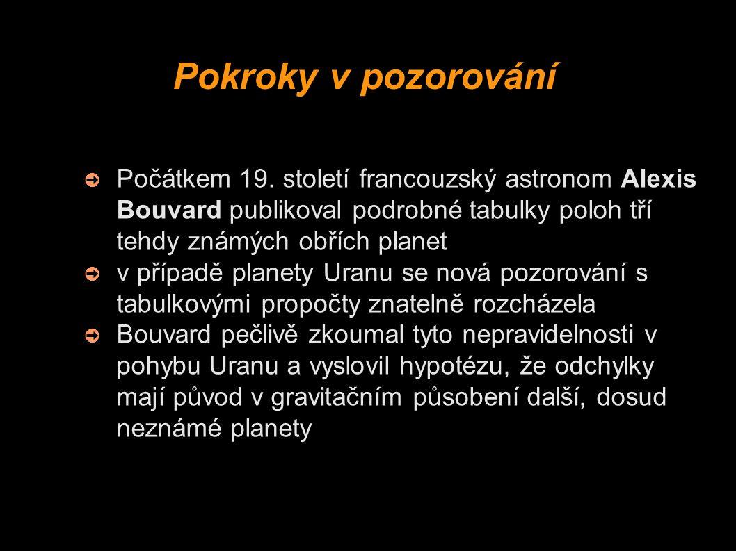 Pokroky v pozorování Počátkem 19. století francouzský astronom Alexis Bouvard publikoval podrobné tabulky poloh tří tehdy známých obřích planet.