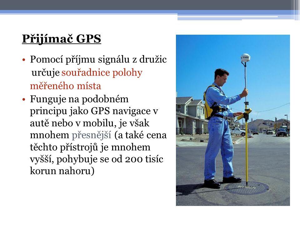 Přijímač GPS Pomocí příjmu signálu z družic určuje souřadnice polohy