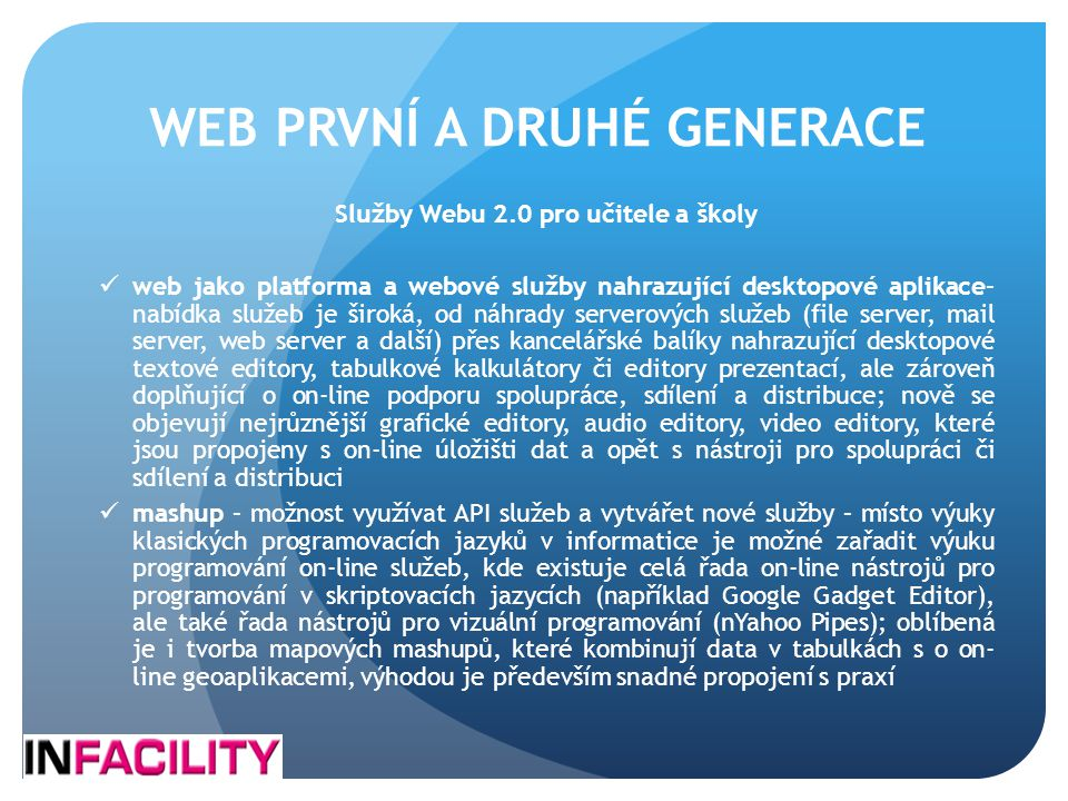 WEB PRVNÍ A DRUHÉ GENERACE