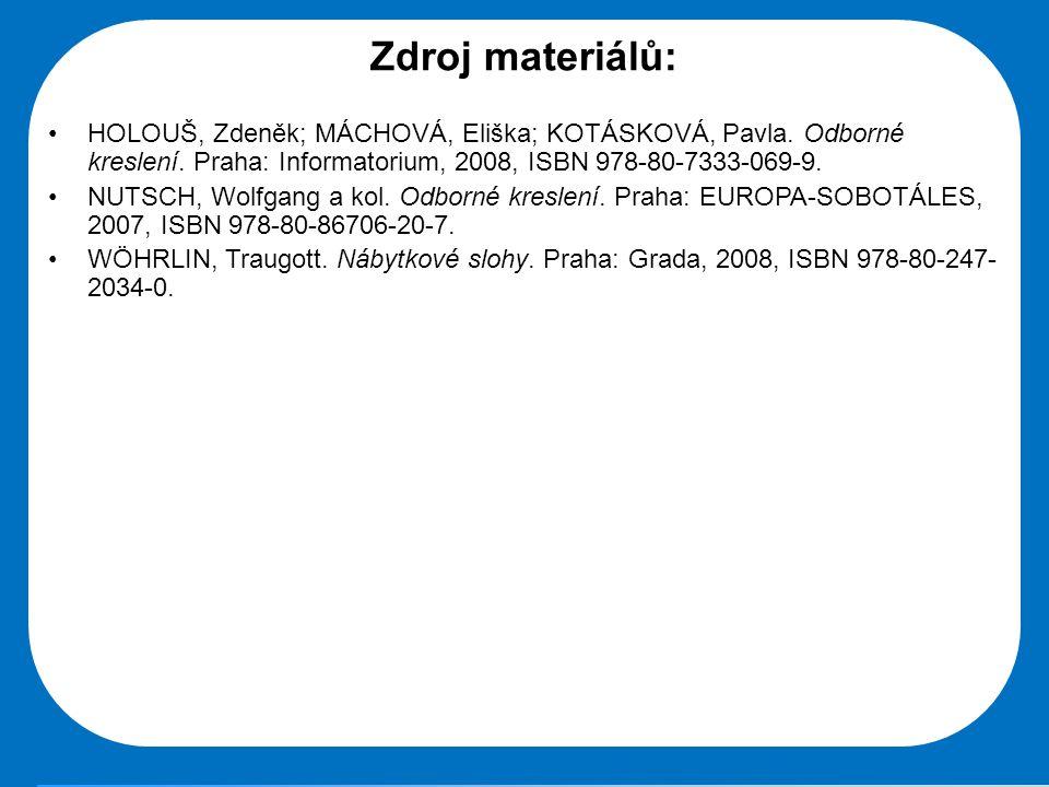 Zdroj materiálů: HOLOUŠ, Zdeněk; MÁCHOVÁ, Eliška; KOTÁSKOVÁ, Pavla. Odborné kreslení. Praha: Informatorium, 2008, ISBN 978-80-7333-069-9.