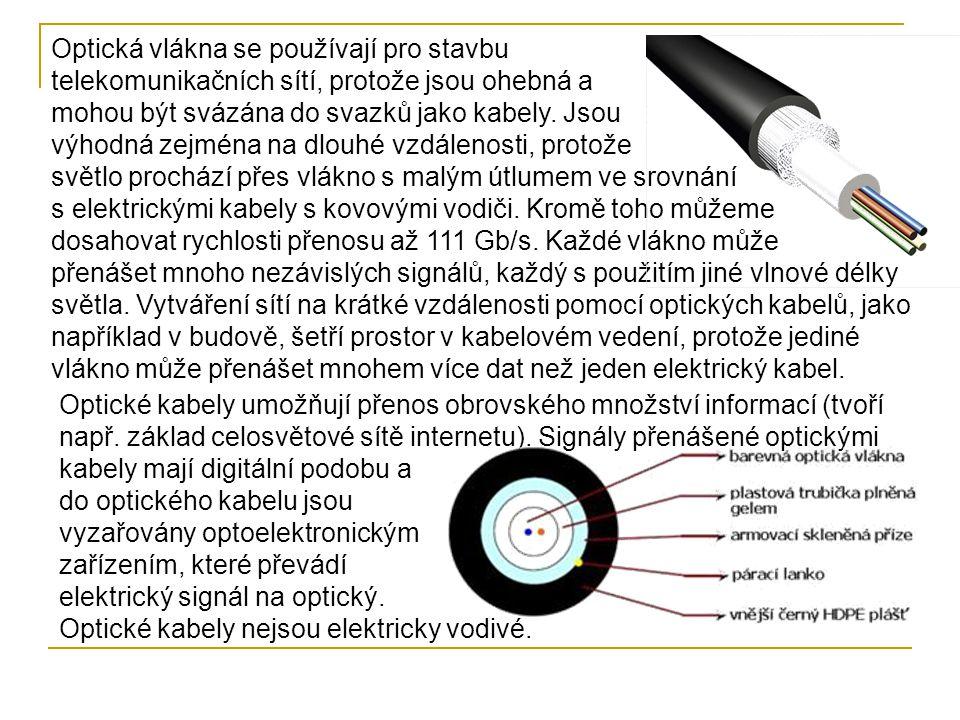 Optická vlákna se používají pro stavbu