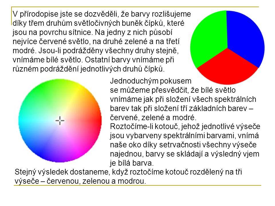 V přírodopise jste se dozvěděli, že barvy rozlišujeme díky třem druhům světločivných buněk čípků, které jsou na povrchu sítnice. Na jedny z nich působí nejvíce červené světlo, na druhé zelené a na třetí modré. Jsou-li podrážděny všechny druhy stejně, vnímáme bílé světlo. Ostatní barvy vnímáme při různém podráždění jednotlivých druhů čípků.