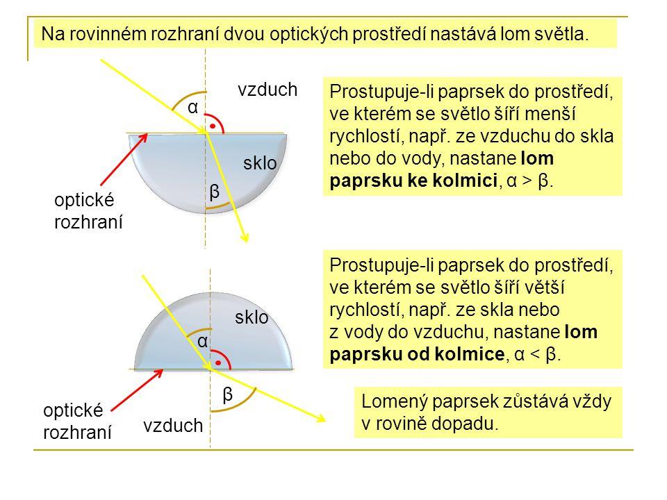 Na rovinném rozhraní dvou optických prostředí nastává lom světla.