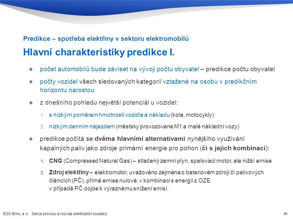 Hlavní charakteristiky predikce I.