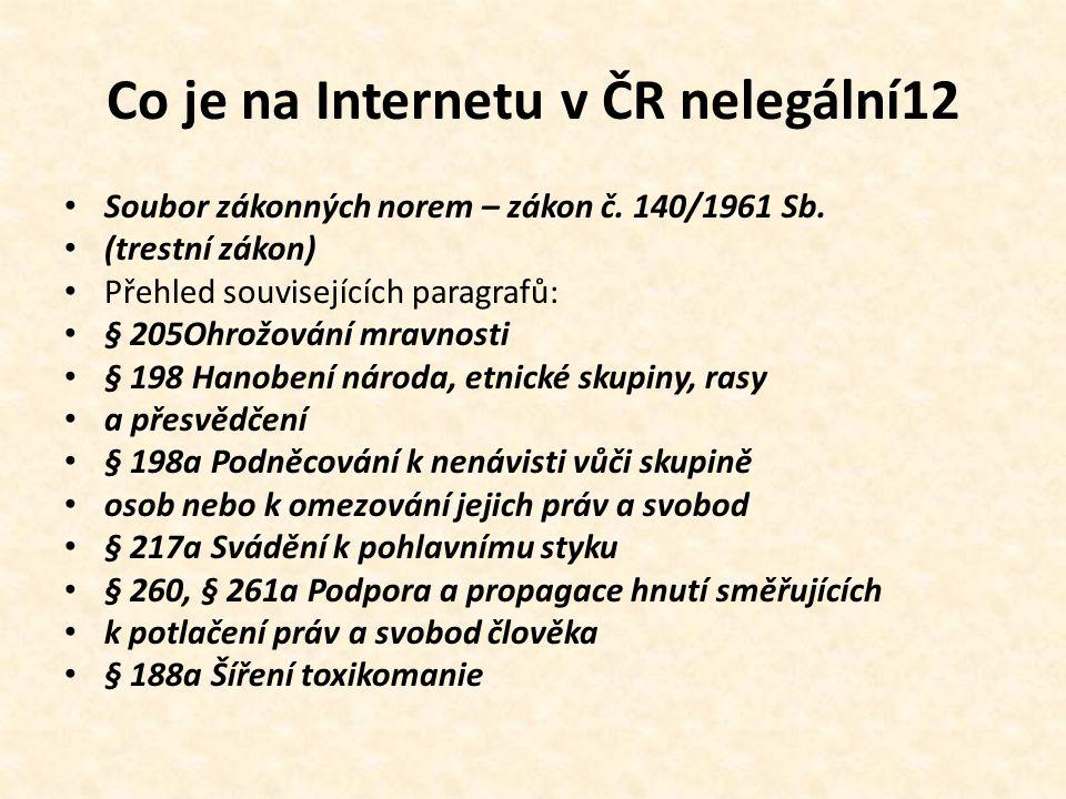 Co je na Internetu v ČR nelegální12