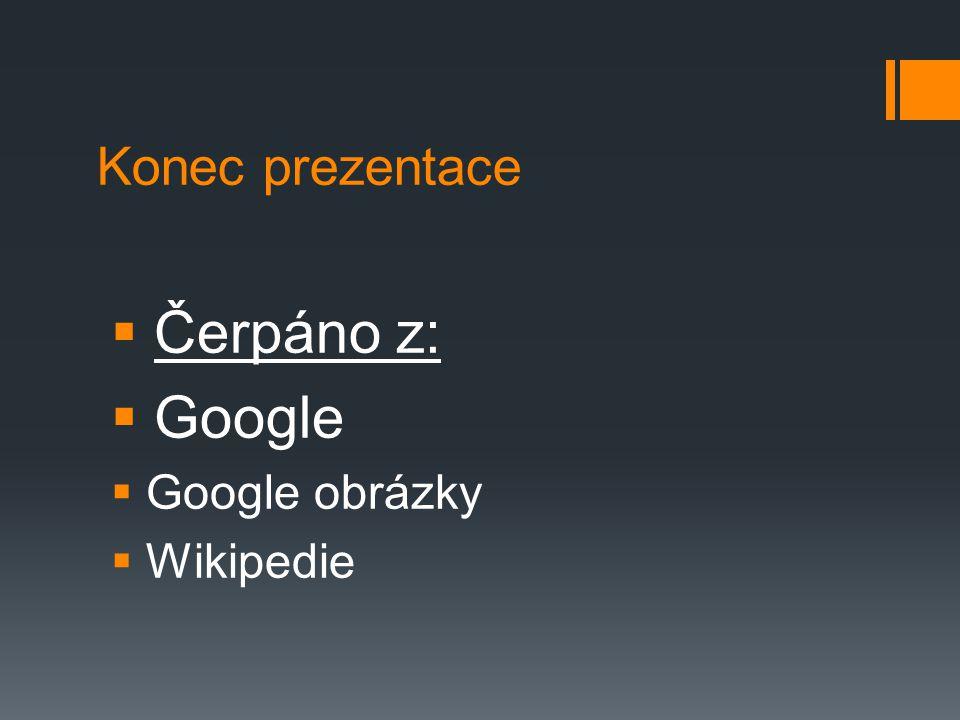 Konec prezentace Čerpáno z: Google Google obrázky Wikipedie