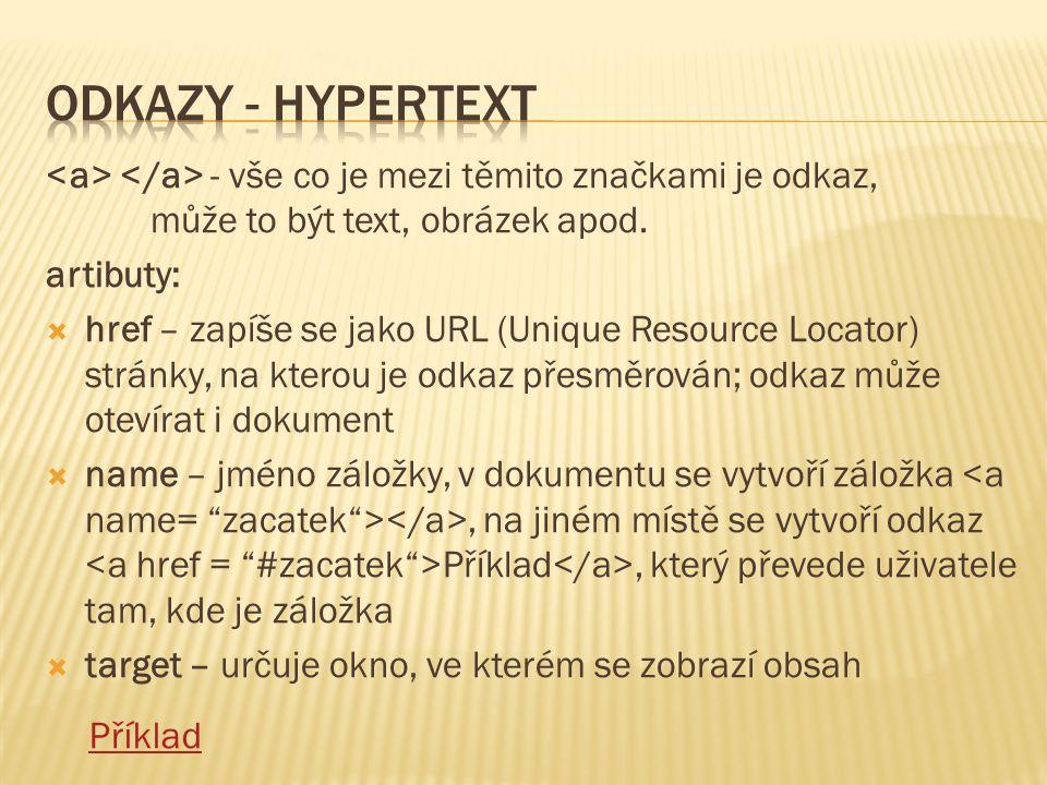Odkazy - Hypertext <a> </a> - vše co je mezi těmito značkami je odkaz, může to být text, obrázek apod.