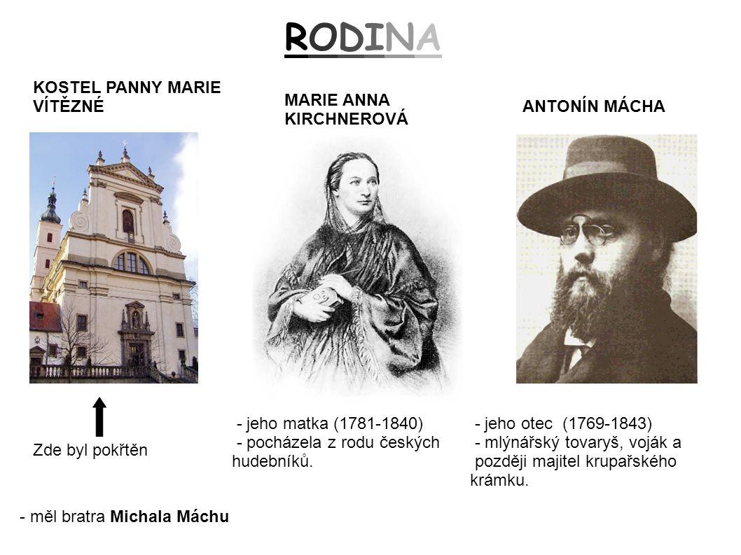 RODINA KOSTEL PANNY MARIE VÍTĚZNÉ MARIE ANNA KIRCHNEROVÁ ANTONÍN MÁCHA