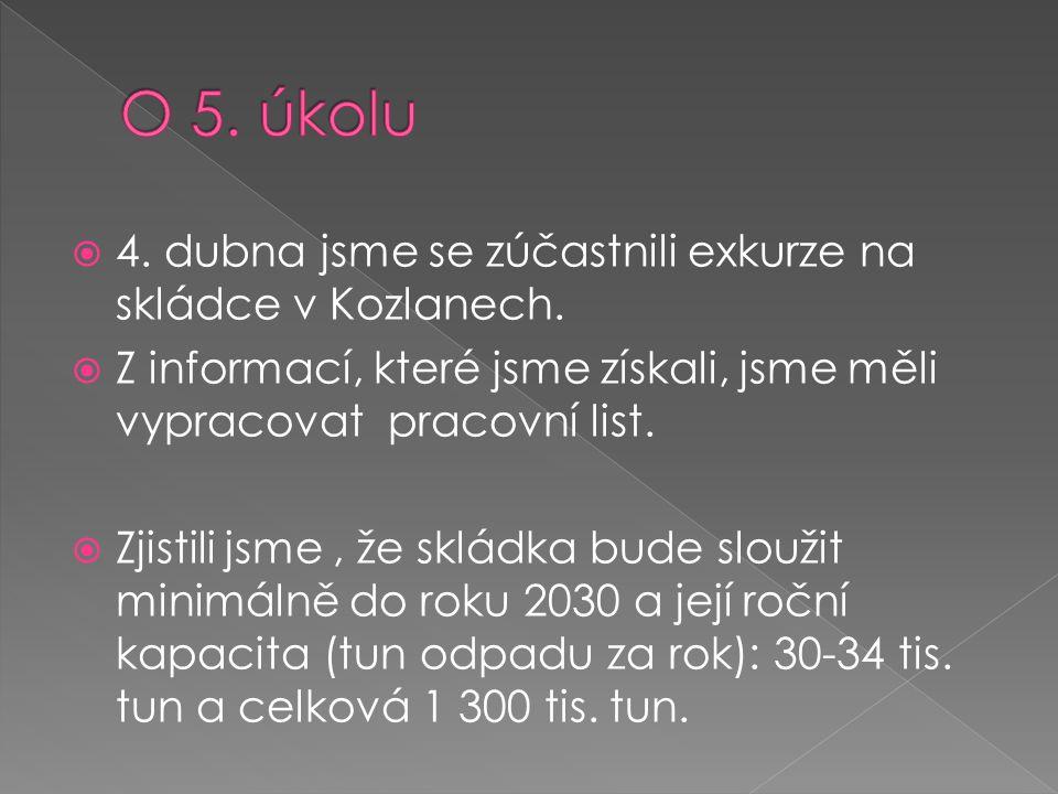 O 5. úkolu 4. dubna jsme se zúčastnili exkurze na skládce v Kozlanech.