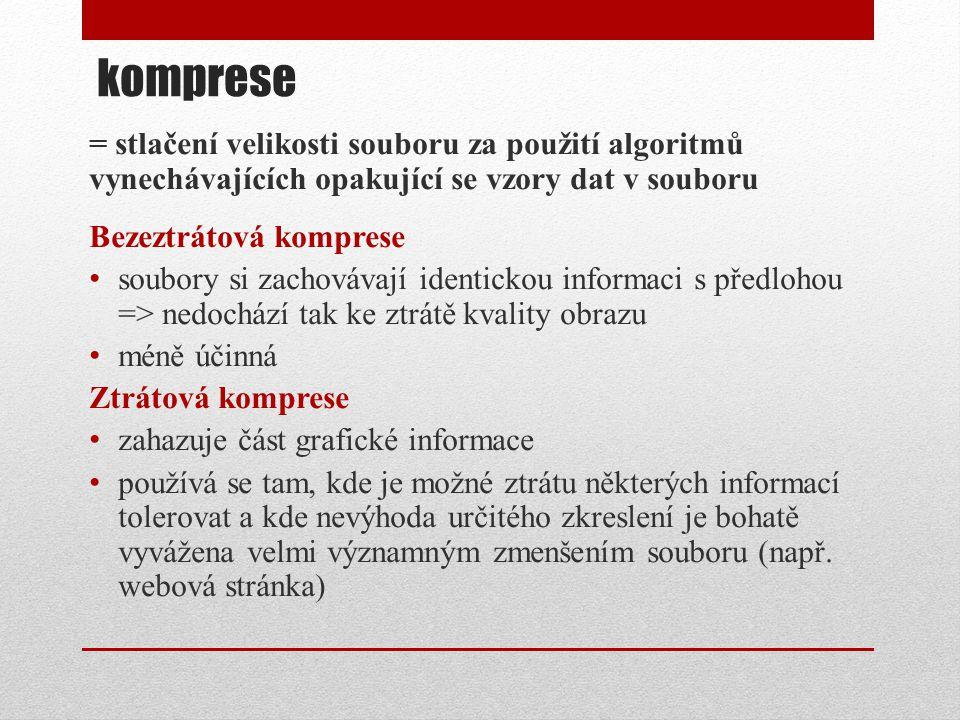 komprese = stlačení velikosti souboru za použití algoritmů vynechávajících opakující se vzory dat v souboru.