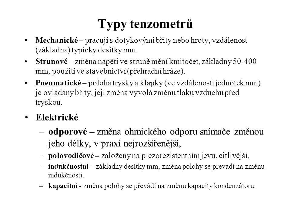Typy tenzometrů Elektrické