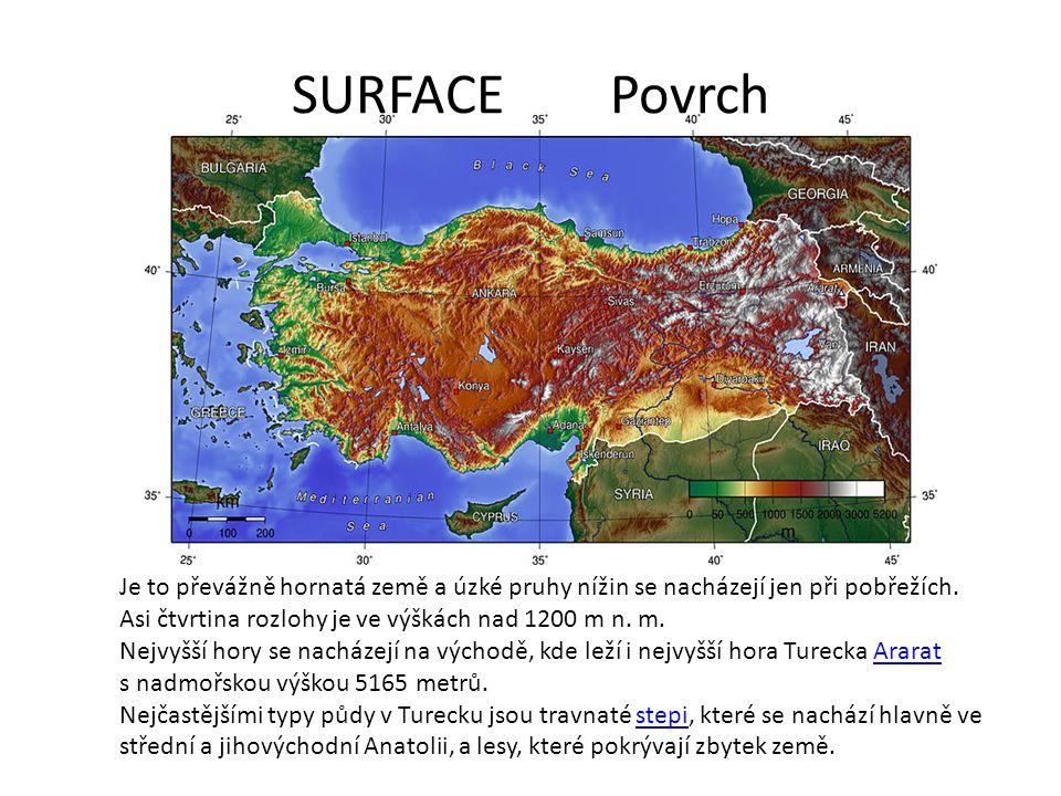 SURFACE Povrch Je to převážně hornatá země a úzké pruhy nížin se nacházejí jen při pobřežích. Asi čtvrtina rozlohy je ve výškách nad 1200 m n. m.