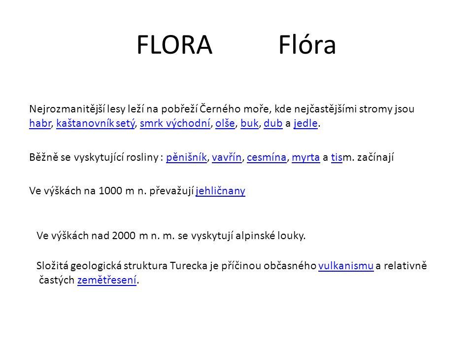 FLORA Flóra Nejrozmanitější lesy leží na pobřeží Černého moře, kde nejčastějšími stromy jsou.
