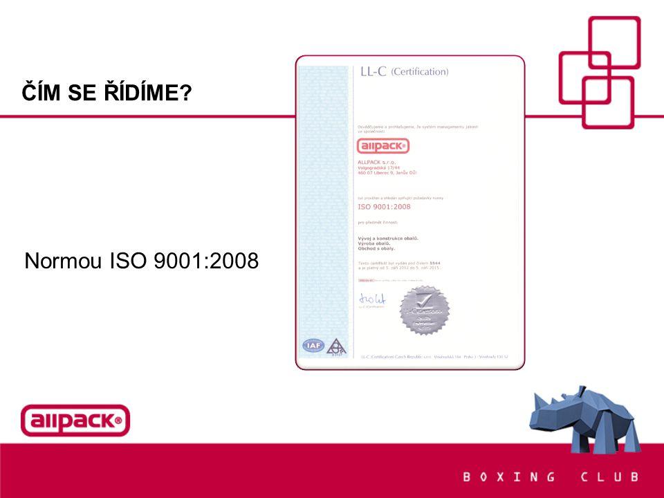ČÍM SE ŘÍDÍME Normou ISO 9001:2008